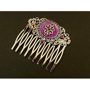 Festlicher Haarkamm mit Emaille in pink lila silber
