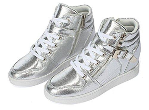 Damen Sneakers Schnürer Glänzende Aufzug Keilabsatz Lässige Herbst Skateboardschuhe Silber