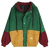 Damen Mantel, Lonshell Cord Farbe Patchwork Windbreaker Oversize Jacke Frühling Mantel (L, Wein)