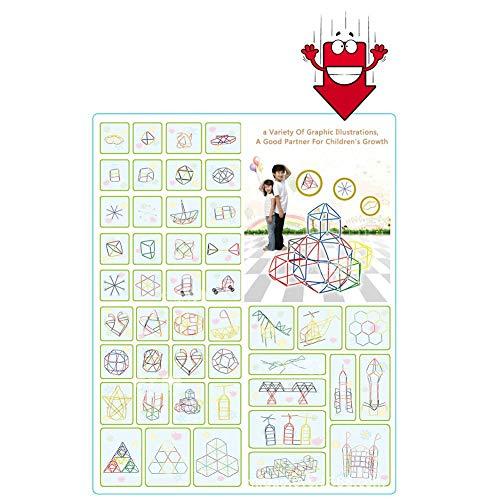 Gorgebuy Bloques de inserción de Paja - 4D Space Puzzle Bloques de ensamblaje de Empalme de Paja - para niños Edificio de jardín de Infantes Juguetes educativos innovadores