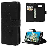 S8 Plus Case, Galaxy S8 Plus Wallet Case, YOKIRIN PU Leather Magnetic Folio Inner Soft TPU Embossed Butterfly Hand with Card Slots Kickstand Flip Wallet Cover for Samsung Galaxy S8 Plus, Black
