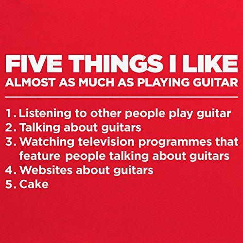 Five Things I Like - Playing Guitar T-Shirt, Herren Rot