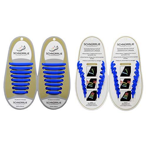 SCHNÜRRLIE Elastische Silikon Schnürsenkel - Der perfekte Schnürbänder Ersatz für Sneaker Turnschuhe Sportschuh (16 Stück Blau) E-ersatz-ersatz