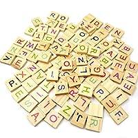 100Pcs Wooden Letter Alphabet Scrabble Number English Words Kids Educational Toy - Random Style qingsb