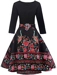 453e81b83b0 Mitlfuny 50er Jahre Stil Mode Kostüm Rockabilly Damen Outfit Vintage Floral  Hülse mit Drei Vierteln Ärmel Abend…