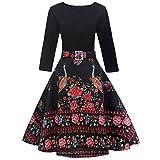 Mitlfuny 50er Jahre Stil Mode Kostüm Rockabilly Damen Outfit Vintage Floral Hülse mit Drei Vierteln Ärmel Abend Party Prom Swing Kleid (Schwarz, Large)