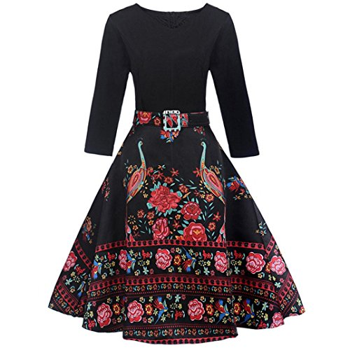 Mitlfuny 50er Jahre Stil Mode Kostüm Rockabilly Damen Outfit Vintage Floral Hülse mit Drei Vierteln Ärmel Abend Party Prom Swing Kleid(Schwarz, X-Large)