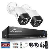 SANNCE TVI Kit de Surveillance 4CH Enregistreur DVR HD 1080N + 2 Caméra de Sécurité HD 720p Extérieures Etanches(Vision Nocturne,Détection de Mouvement,Alarme par Mail,Vision à Distance Via Phone)