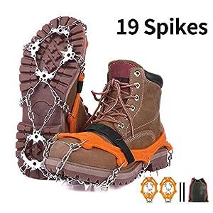 A-MIND Steigeisen Schuhspikes mit 19 Zähnen Schuhkrallen Anti-Rutsch Schneeketten Schuhe für Wandern Bergsteigen Orange
