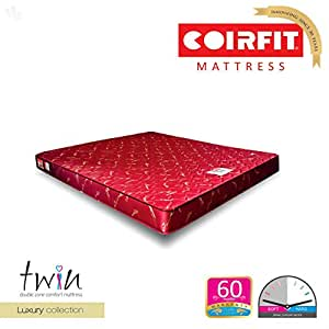 Coirfit Twin 6-inch Queen Size Memory Foam Mattress (Red, 72x66x6)