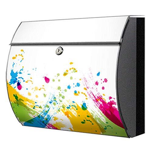 Briefkasten motivX Swing Edelstahl bunt Zeitungsfach Design Wandbriefkasten mit Motiv bunte Pinselstriche