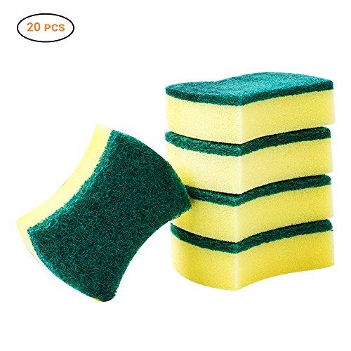 Peahop 20PCS Heavy-Duty-Peeling-Schwamm, Nicht kratzende Reinigungsschwämme, Multi-Use, Heavy-Duty-Reinigungspads für Küchen, Badezimmer, Autos- - Amber Antibakteriell