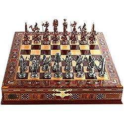 Juego de ajedrez de cobre antiguo egipcio para adultos, piezas hechas a mano y tablero de ajedrez de madera maciza natural con diseño de perla alrededor de la tabla y almacenamiento interior de