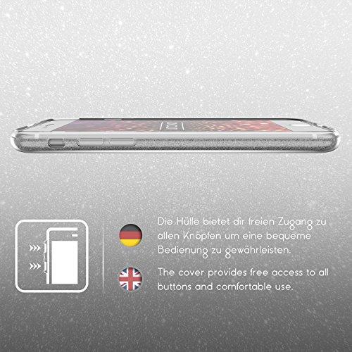 Urcover® Apple iPhone 7 Plus Glitzer Handy Schutz-Hülle | 2in1 Backcase in Rose Gold | TPU Cover | Smartphone Zubehör Schale Case Silber