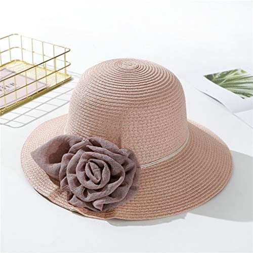 y Derby Hat for Women, Organza Church Dress, Bowler Hat, Sun Hat, Wedding Hat, Fascinator Bridal Tea Party Shopping Formal Occassion Outdoor Activities, 56-58CM (Pink) ()