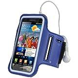 igadgitz Blu Fascia Braccio Armband Sport Corsa Fitness per Samsung Galaxy S2 i9100 Android Smartphone Mobile