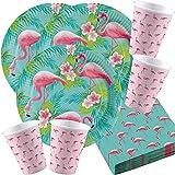 Amscan Flamingo 10118540B festset 16 papperstallrikar 16 pappersmuggar 20 servetter födelsedagstema fest sommarfest
