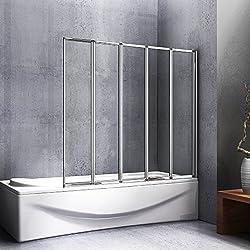 120x140cm paroi de douche, Pare baignoire 5 volets rétractables et pliants, porte de baignoire pivotante 180°