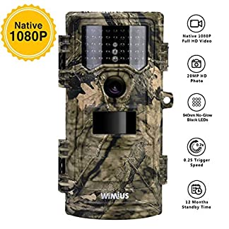 "WIMIUS Wildlife Trail Camera, 1080P 20MP 0.2s Trigger Speed Motion Activated Infrared Night Vision 70ft / 20m IP54 Waterproof with 2.4"" LCD Game Camera for Outdoor Hunting Garden Home Security Surveillance"