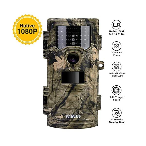 """WIMIUS Wildlife Trail Camera, 1080P 20MP 0.2s Trigger Speed Motion Activated Infrared Night Vision 70ft / 20m IP54 Waterproof with 2.4"""" LCD Game Camera for Outdoor Hunting Garden Home Security Surveillance"""