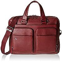 Piquadro Men's Black Square Top-Handle Bag red Rosso (Bordeaux)