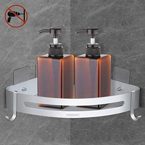Yissvic Eckablage Duschkorb Duschablage Duschregal Befestigen Ohne Bohren mit 2 Haken aus Raum Aluminium für Badezimmer und Küche