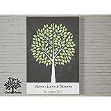 70x50 cm, Hochzeitsfarben - Leinwanddruck Gästebuch, Hochzeitsbaum, Wedding Tree, Gästebuch, Baum, Leinwand, Keilrahmen und Baum Motiv