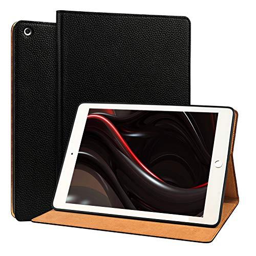 OUVOUV iPad 2018 / 2017 iPad 9.7 Zoll Hülle,Apple iPad Echt Leder Case cover smart Rindsleder-Case Tasche Tablet-Case Schutzhülle mit Wake/Sleep Funktion und Standfunktion für iPad 9,7 zoll,schwarz