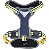 Blueberry Pet Soft & Comfy 3M Reflective Multi-colored Stripe Padded Dog Harness Vest, Chest Girth 45cm-54cm, Neck 37cm-52cm, Yellow & Green, Small, Mesh Harnesses for Dogs