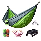HUKOER Camping Hammock - Portable Double Strong Nylon Camping Hammock with Straps and Premium Carbiners, with 550 pound weighting capacity for Traveling, Hiking, Backpacking, Climbing & Outdoor Sleeping (Green of Updated Version)