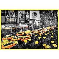 Nueva York Póster con Marco (Plástico) - Umbrella, Taxi (91 x 61cm)