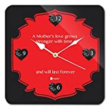 Gift for Mom Mothers Day Gift for Mother indibni Mother's Love grows stronger with time Unique Square Wall Clock 11 x 11 - Black - House Warming Gift for Mom Mother on her Birthday Anniversary Mothers Day Special Day Home Decor