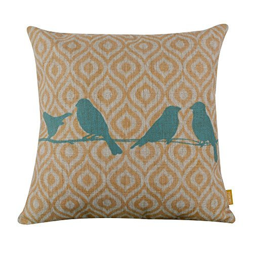 Preisvergleich Produktbild Jtartstore Bird Yellow Ikat Bestgiftsforfriendsfamilyfeaturessoftlinencottonpillowcover18x18inches g81