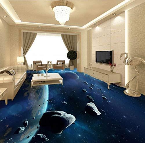 Himmlisches Bad (Yosot Meteorit Raumschiff 3D Himmel Himmlisches Bad Anti-Rutsch Verdickt Bodenbelag Wandbild Wohnzimmer Tapete-450Cmx300Cm)