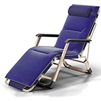 Sofa chair ZHIRONG Folding Chair Office Siesta Chair Casual Armchair Adjustable Angle Sun Loungers Garden Chair Summer Beach Chair Removable Cushion (Color : Blue)