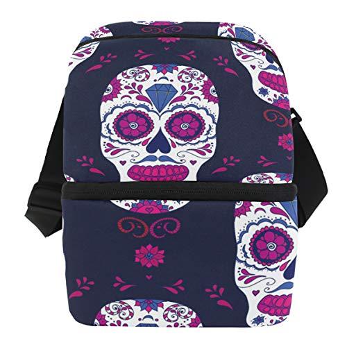 QMIN Business Lunchtasche Sugar Skull Diamond Flower Lunchbox mit Reißverschluss, isoliert, wiederverwendbar, mit Schulterriemen für Mädchen Jungen Damen ()