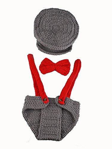 ENCOCO Baby Pilot Uniform Fotografie Requisiten Neugeborene Foto-Shoot Outfits Häkelkostüm Kleinkind Jungen Mädchen Strickmütze Windelset (Kleinkind Junge Pilot Kostüm)