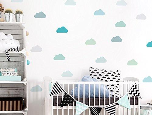 I-love-Wandtattoo Pegatina de Pared Set habitaci/ón Infantil Nubes en una combinaci/ón de Colores Modernos Unidades Cielo para Pegar Adhesivos de Pared Pegatinas decoraci/ón de la Pared
