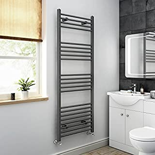 iBathUK 1600 x 600 Anthracite Straight Heated Towel Rail Bathroom Radiator - All Sizes NA1600600