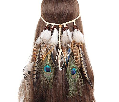 afebea1bf5a1 Haifly Diadema de Flores Indian Feather Headdress Fashion Accesorios para  el Pelo para Las Mujeres