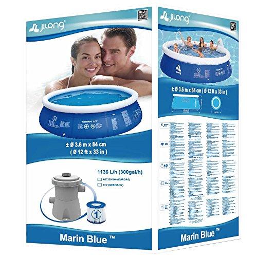 Jilong Marin Blue Rundpool Set Ø 360×84 cm mit Becken Pumpe Filter-Kartusche, Quick-Up Swimming Pool Fast-Set Kinder und Familien Schwimmbecken Schwimmbad für Garten und Terasse - 4