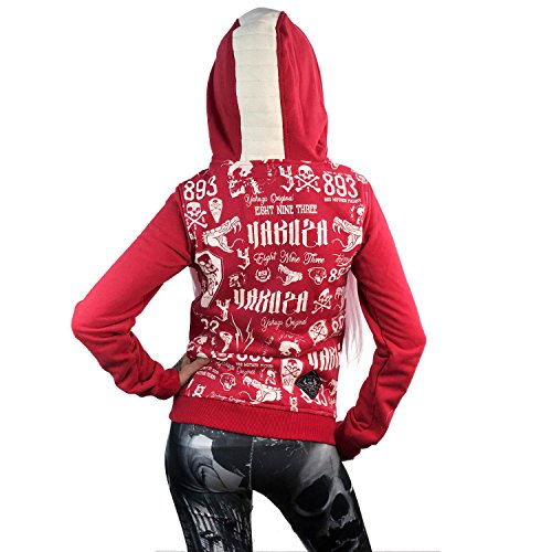 Yakuza Original Damen Allover Label Flex Zip Hoodie Kapuzenjacke Ribbon Red