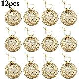 Outgeek 12PCS Christmas Ornaments Glitter Balls Xmas Tree Decorations Hanging Ornaments