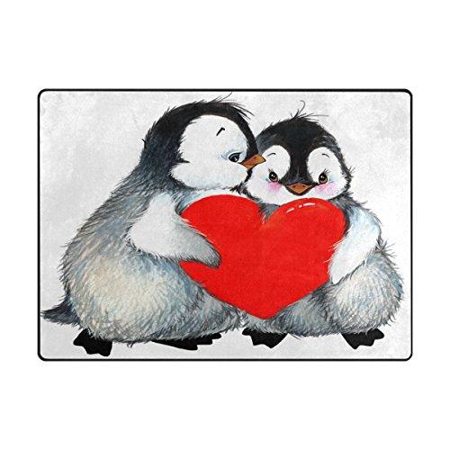 Bereich Teppich, Pinguin Lover Herz Print Teppich Designer Soft Polyester Große rutschfeste modernes Bad-Teppiche für Schlafzimmer Wohnzimmer Hall Abendessen Tisch Home Valentines Decor 121,9x 160cm, Textil, multi, 48 x 63 inch (Quadratisch Teppich Valentine)