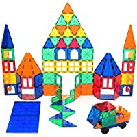 Playbees 100 Piece Magnetic Building Block Toy, 3D Magnet Tile Set with Vivid Clear Colors, Durable Tile Shapes for Kids Educational and Creative Imagination Development