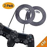 EXINOZ Geflochtenes Nylon Ladekabel für PS4 DualShock und Xbox One Controller | Perfekte Länge USB Kabel für Playstation 4 und Xbox | Kabel mit 1 Jahr Umtauschgarantie (4m, 2er-Pack)