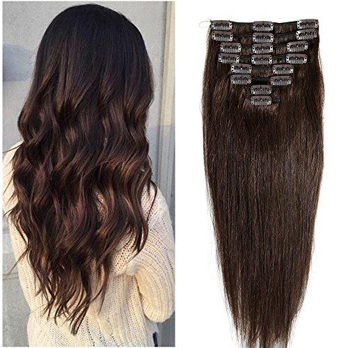 8pz 18 clips extension capelli veri clip 100% remy capelli lisci lunghi umani resistente al calore marrone