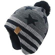 AHAHA Sombreros de Punto Pompom para niños Sombreros de Invierno Earflap a08e7ac2227