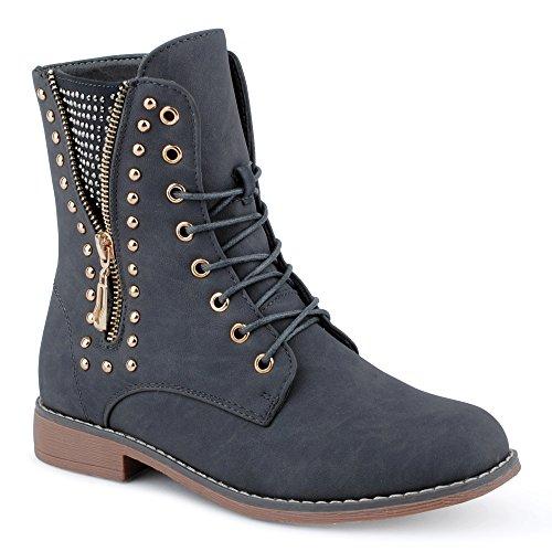 Damen Stiefeletten Stiefel Nieten Reißverschluss Blockabsatz Schnür Biker Boots Schuhe Grau/Gefüttert