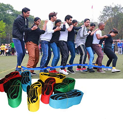 ouying1418 2pcs Foot Race Bands Outdoor Game 5 People for Kids Adults Team Game Prop